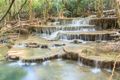Waterfall in deep tropical Forest in summer , Huay Mae Kamin Wat Royalty Free Stock Photos