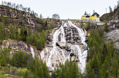 Waterfall Del Toce at cloudy morning Royalty Free Stock Photography
