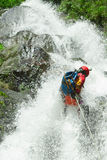 Waterfall Descent Canyoning Adventure Stock Photo