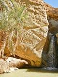 Waterfall at desert  oasis Stock Photo