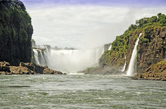 Waterfall Diablo Throat. Veiw of Waterfall Diablo Throat from water in the Iguasu/ Left Side-Brazil, Right Side- Argentina Royalty Free Stock Photos