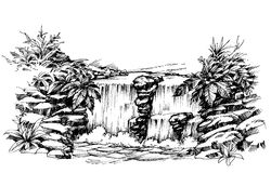 Waterfall drawing. Flowing river sketch Stock Images