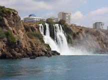Waterfall Duden. At Antalya, Turkey. Nature travel background. Clear sea and blue sky in summer Royalty Free Stock Photo