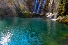 Waterfall Duden. Amazing waterfall Duden and green lake Stock Photos