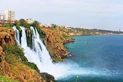 Waterfall Duden at Antalya. In Turkey in the summer Royalty Free Stock Images