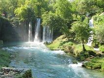 Waterfall duden antalya turkey. Waterfall falling view out of grotto duden antalya turkey Royalty Free Stock Images