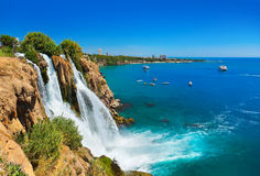Waterfall Duden at Antalya, Turkey stock image
