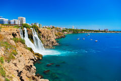 Waterfall Duden at Antalya, Turkey. Nature travel background Stock Photos