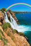Waterfall Duden at Antalya, Turkey. Nature travel background Royalty Free Stock Images