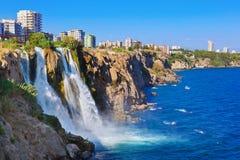 Waterfall Duden at Antalya, Turkey. Nature travel background Royalty Free Stock Image