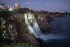 Waterfall on Duden river in Antalya, Turkey. Falls panorama ove. Waterfall Duden at Antalya, Turkey at night - nature travel background Royalty Free Stock Images