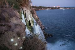Waterfall on Duden river in Antalya, Turkey. Falls panorama ove. Waterfall Duden at Antalya, Turkey at night - nature travel background Stock Photo
