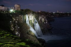 Waterfall on Duden river in Antalya, Turkey. Falls panorama ove. Waterfall Duden at Antalya, Turkey at night - nature travel background Royalty Free Stock Photos