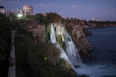 Waterfall on Duden river in Antalya, Turkey. Falls panorama ove. Waterfall Duden at Antalya, Turkey at night - nature travel background Royalty Free Stock Photo