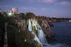 Waterfall on Duden river in Antalya, Turkey. Falls panorama ove. Waterfall Duden at Antalya, Turkey at night - nature travel background Stock Image