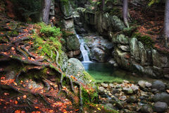 Waterfall in Enchanted Forest. Enchanted place by the waterfall in autumn mountain forest of Karkonosze Mountains, Sudetes, Poland, Europe royalty free stock photo