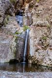 Waterfall in the end of Barranco del Infierno hiking trail. Royalty Free Stock Images