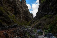 Waterfall in the end of Barranco del Infierno hiking trail. Royalty Free Stock Photography