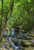 Waterfall Eravan, in Kanchanabury, Thailand Stock Photography