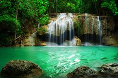 Waterfall in Erawan national park Royalty Free Stock Image