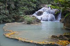 Waterfall in erawan national park Royalty Free Stock Photography