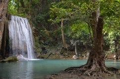 Waterfall in Erawan National Park. Beautiful waterfall in Erawan Waterfalls National Park in Thailand royalty free stock images