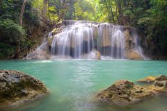 Waterfall in Erawan National Park with rocks Stock Image