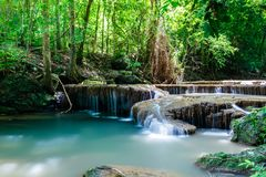 Waterfall in Erawan National Park, Thailand. Tranquil waterfall and pool shaded by tropical jungle plants in Erawan National Park, western Thailand Royalty Free Stock Images