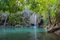 Waterfall erawan with rock Stock Photography