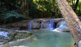 Waterfall Erawan Waterfall in the forest beautiful Stock Photography
