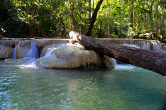 Waterfall Erawan Waterfall in the forest beautiful Stock Image