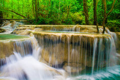 Waterfall at Erawan waterfall National Park Kanjanaburi Thailand Stock Image