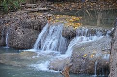 Waterfall. In Erawan s National Park in Thailand Stock Photos