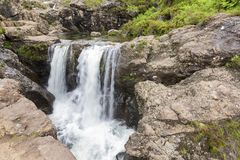 Waterfall in the Fairy Pools rocky stream on Isle of Skye stock photos