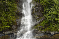 Waterfall. A waterfall falling down the side of a mountain in the rain forest Stock Photos