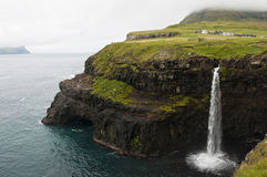 A waterfall in Faroe Islands Stock Photos