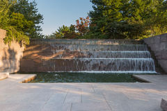 Waterfall in the FDR Memorial. In Washington DC Stock Photos