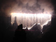 Waterfall Fireworks. Hogmanay Waterfall Fireworks on Castle Rock, Edinburgh Royalty Free Stock Image