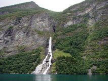 Waterfall and fjord Royalty Free Stock Photo