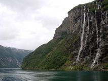 Waterfall and fjord Royalty Free Stock Photos
