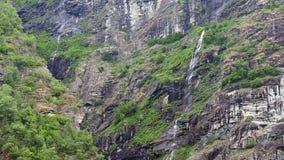 Waterfall fjord Norway stock video footage