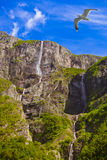 Waterfall in Fjord Sognefjord - Norway Royalty Free Stock Photography