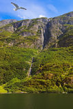 Waterfall in fjord Sognefjord - Norway Stock Photography