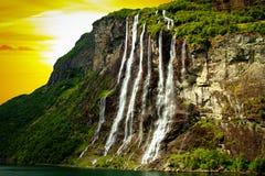 Waterfall fjord Stock Photo