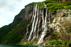 Waterfall fjord Royalty Free Stock Images