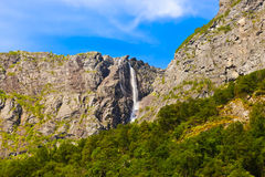 Waterfall in Flam - Norway Stock Photo