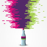 Waterfall of flow color. Bottle flat design icon and color rainbow Stock Photos