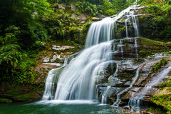 The waterfall. The flow of water after the rain of the mountain stream waterfall is very rich Royalty Free Stock Photos