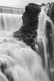 Waterfall flowing. In black and white Stock Image