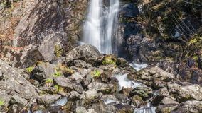 Waterfall flowing over a cliff. Abkhazia stock video